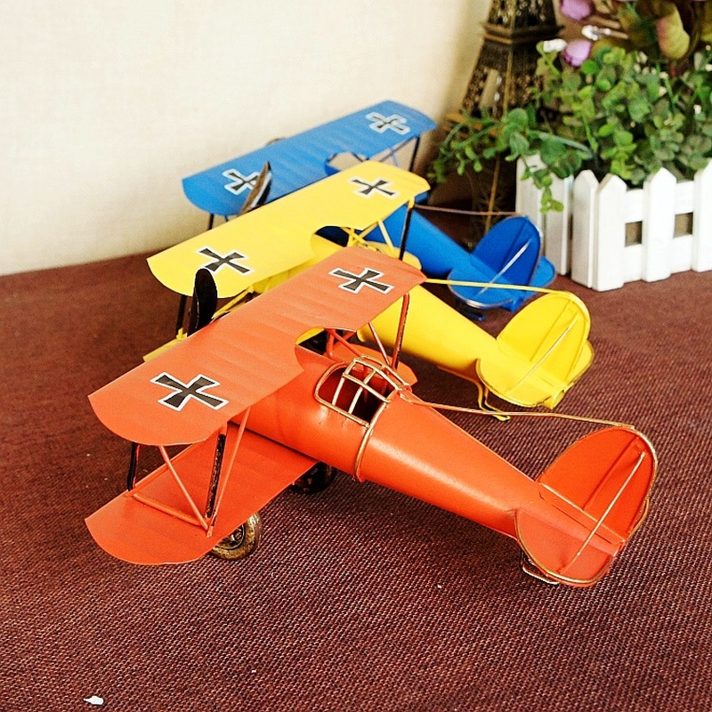 Retro Large Size Handmade Iron Art Airplane Model Ornaments Creative Home Metal Handicraft image