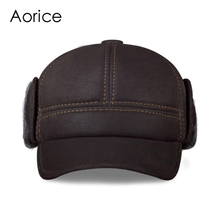 HL083  New Fashion Mens Scrub Genuine Leather baseball Winter Warm Hat / Cap 2colors
