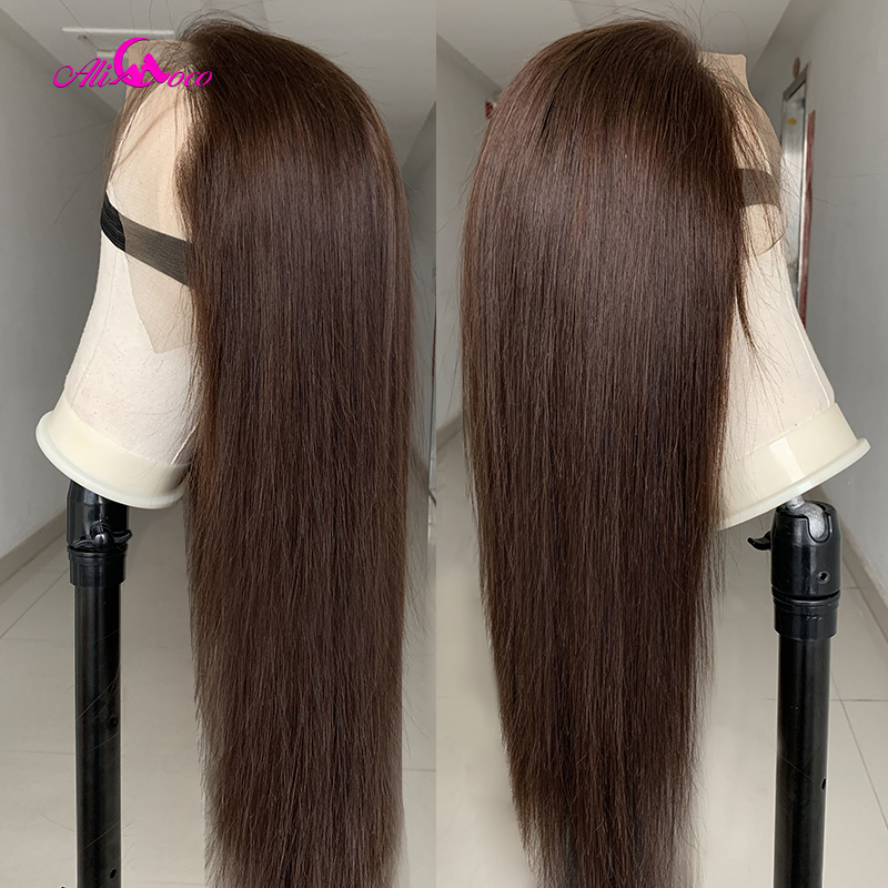Ali Coco Brown 13×4 Ombre Transparent Lace Front Human Hair Wigs For Black Women Colored Human Hair Frontal Wig Bleached Knots