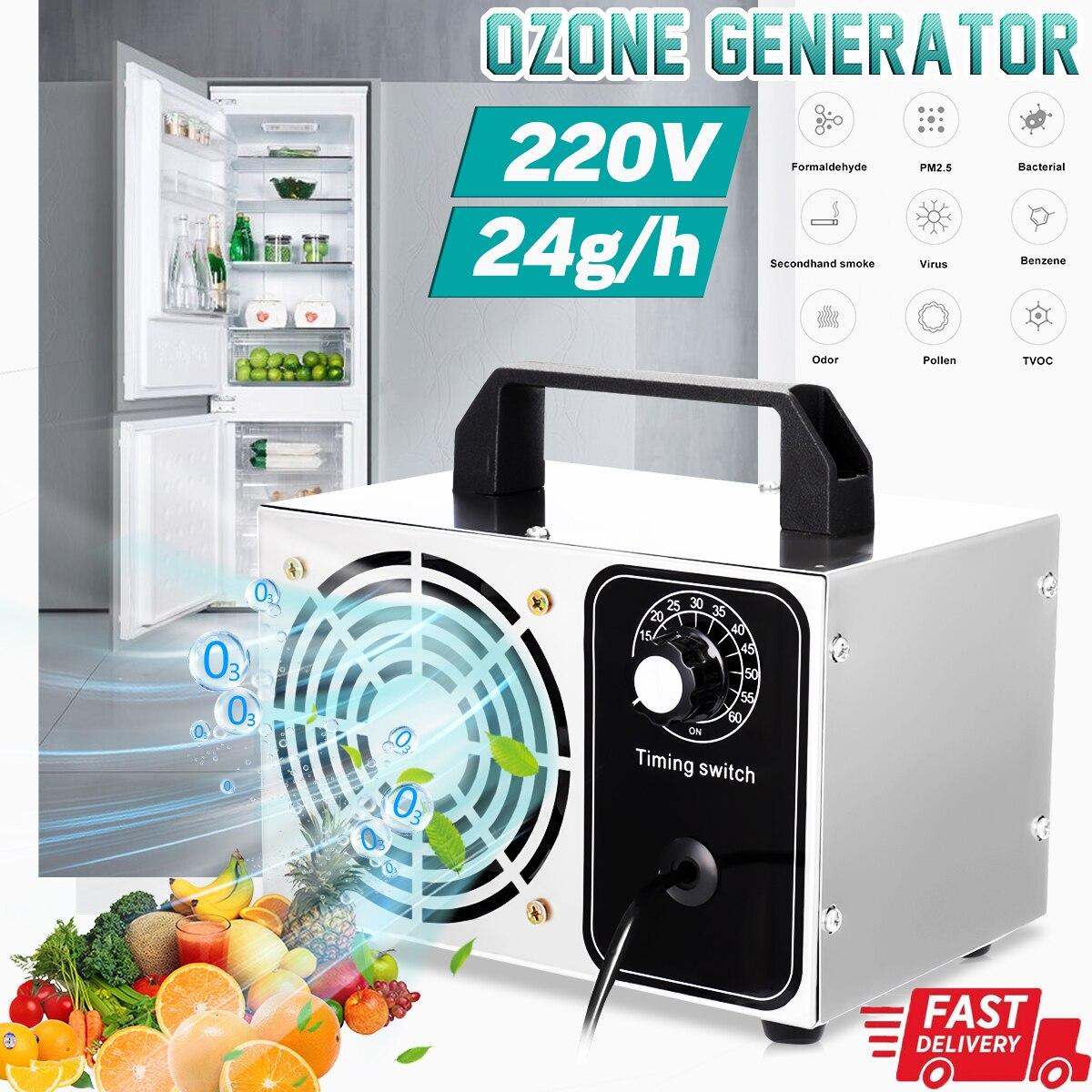 220V 24 g/h ozonizador purificador de aire máquina esterilizador aire desodorante desinfectante de manos de limpieza el formaldehído con interruptor de sincronización Generador de ozono para aire 30g 50 g/h 110/220V, purificador de aire, esterilizador, ozonizador, portátil, esterilizador con interruptor de sincronización