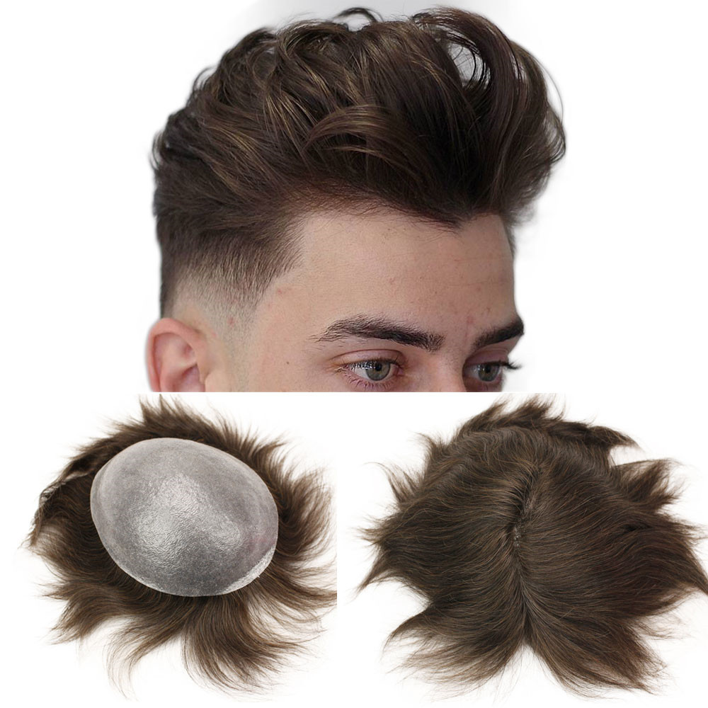 Eseewigs Men Hair Toupee Whole PU Around Human Hair Wigs For Men 10x8 Durable Thin Skin Hair Repacement European Remy Hair