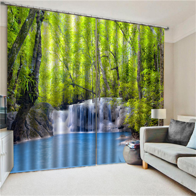 Green View Curtain Waterfall Flying Down The Landscape Curtain Bedroom Living Room Home Decoration Digital Printing