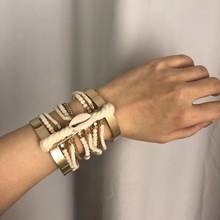 Simple winding national style multi-layer hand ornament women's exaggerated wide Bracelet binding line shell bracelet fashion je(China)
