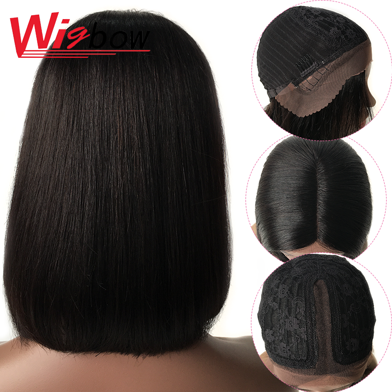Lace Front Straight Bob Wig Human Hair Short Wig For Women Brown Lace Mid Part Frontal Brazilian Hair Wigs With Free Shipping