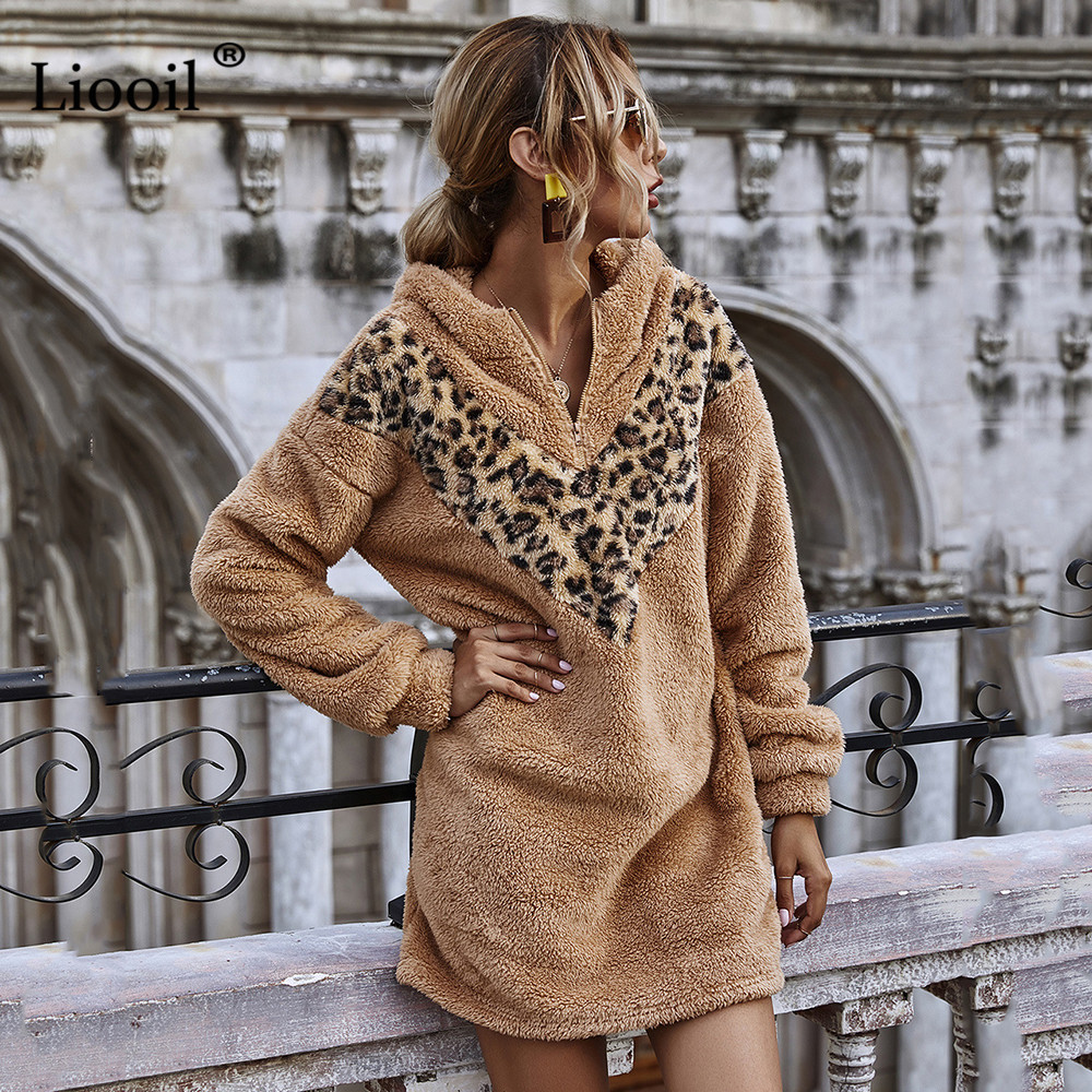 Liooil Casual Patchwork Leopard Print Mini Dress 2020 Plush Hooded Long Sleeve With Zipper Female Autumn Winter Hoodies Dresses