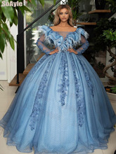 цена на SoAyle Ball Gown Evening Dresses Boat Neck Ruffles Feathers Appliques Lace Evening Dress 2020 Long Sleeves Formal Party Dress