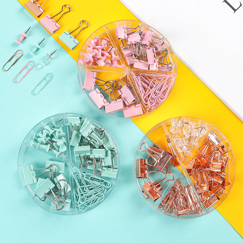 72Pcs Binder Clips Paper Clips Push Pins Sets Stationery With Acrylic Box Student Metal Clips Office School Supplies Folder Set