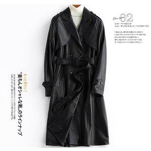 Lautaro Длинный черный кожаный плащ для женщин с длинным рукавом с поясом и погонами 2020 женская мода Большой размер кожаное пальто 6xl 7xl, кожаный...