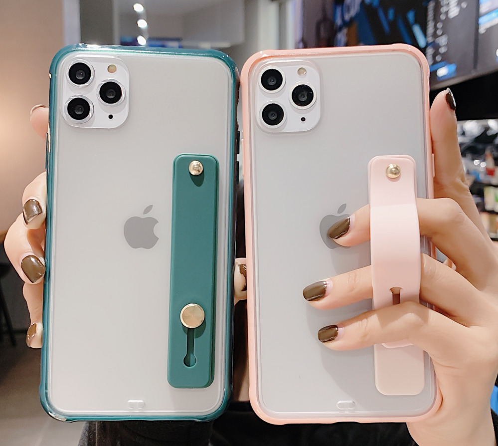 Wrist Strap Candy Colorful Phone Case For iPhone 11 Pro Max XR XS Max X 6S 7 8 Plus Shockproof Bumper Transparent Cover SE 2020