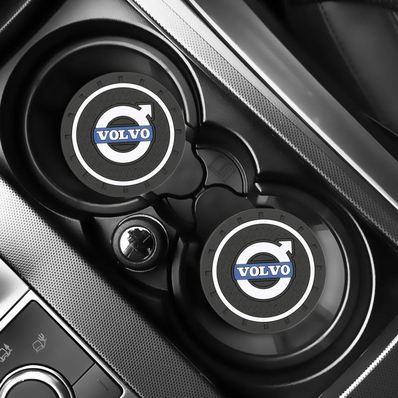 2PCS Car Water Cup Bottle Holder Anti-slip Pad Mat Silica Gel For Volvo XC60 XC70 XC90 S40 S60 S80 V50 V70 V80 Car Styling