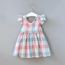 2020 summer children's clothing baby girls fancy checked