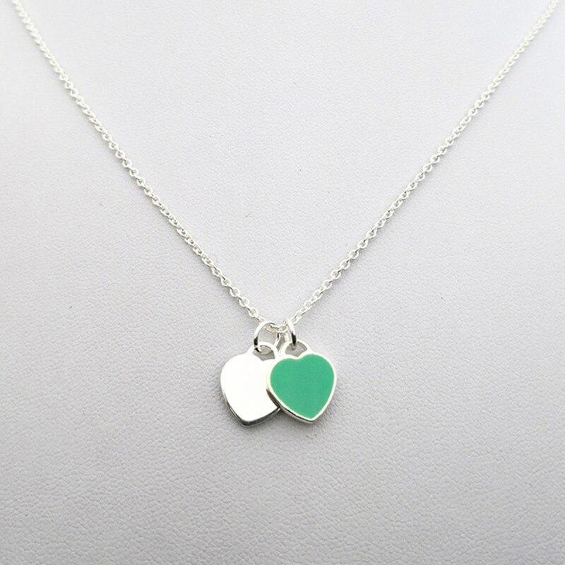 Plata de Ley 925 clásico popular original de moda en forma de corazón de tres piezas collar de mujer joyería - 2