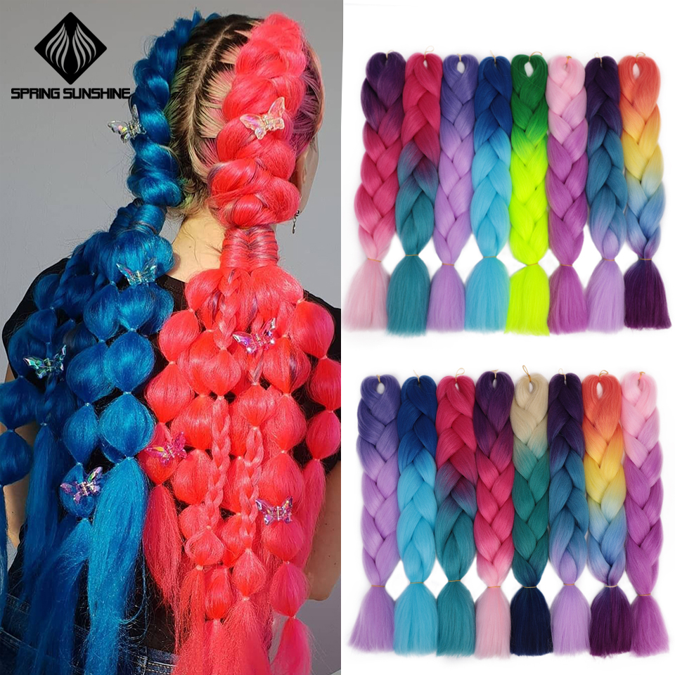 24inch Jumbo Braids Long Ombre Jumbo Synthetic Braiding Hair Yellow Pink Purple Gray Hair Extension Oversized Tweezers 100g 1PC