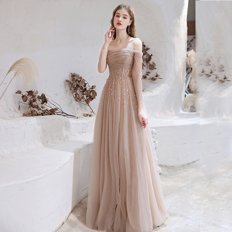 Tulle Evening Dress Off The Shoulder Long Sleeve Sequin Beaded A-Line Formal Gowns 2021