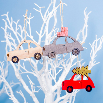 Wooden Painted Colorful Car Tree Christmas Tree Pendant Ornaments Decor For Home Kids Toys Gift Xmas New Year Party Decorations image