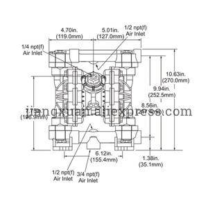 "Image 4 - BML 15P 57L/Min1/2"" PP Material PTFE Plastic Air operated Pneumatic diaphragm pump Double Way Liquid BML 15 Diaphragm Pump"