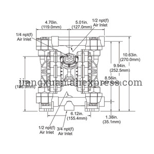 """Image 4 - BML 15P 57L/Min1/2 """"PP malzeme PTFE plastik hava ile çalışan pnömatik diyafram pompası çift yönlü sıvı BML 15 diyaframlı pompa"""