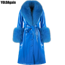 Coat Trench Long Genuine-Leather Women Fox-Fur-Collar Real Yoloagain Single-Breasted