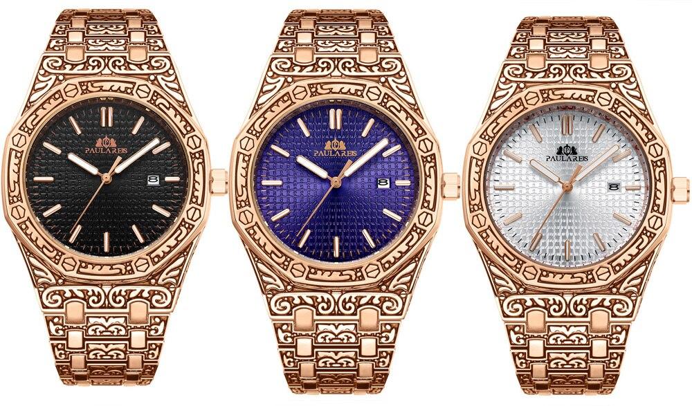 H3955e38361e54f44a90fa8f0b1dae6d9d Men Carved Antique Vintage Luminous Rose Gold Yellow Gold Silver 2 Tones Fashion Blue Classic Quartz luxury watch