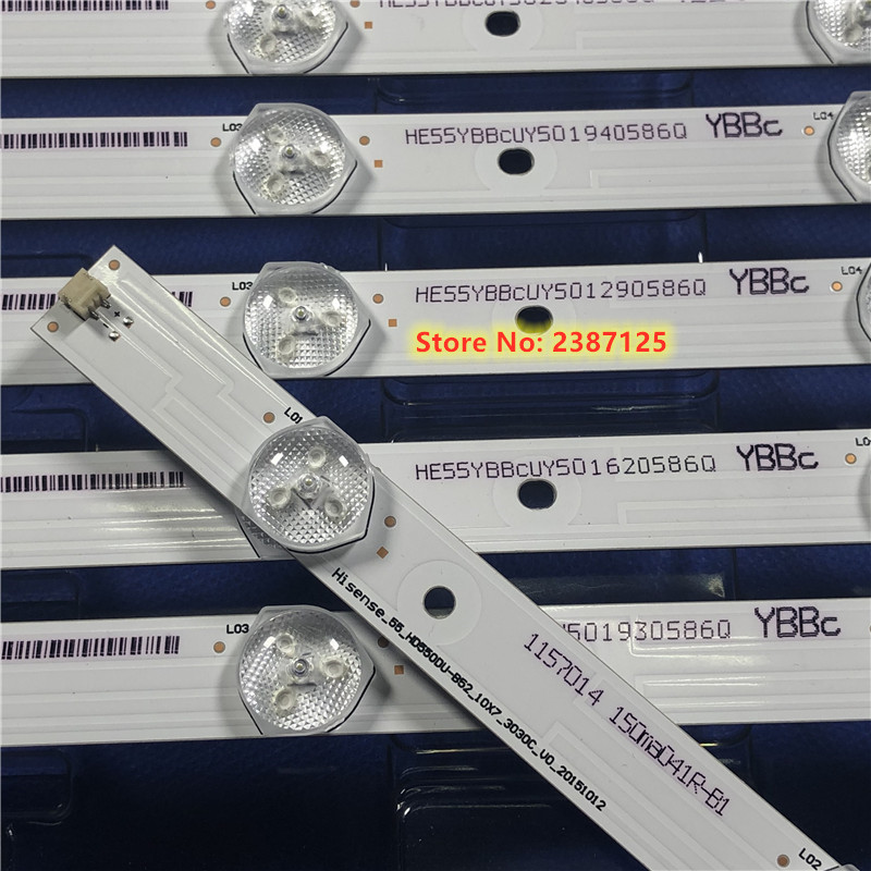 100% New 1set=10pieces  LED Bar Light 7 Lamps  For Hisense 55H8C LED Strip  Hisense_55_HD550DU-B52-10X7_3030C_V0