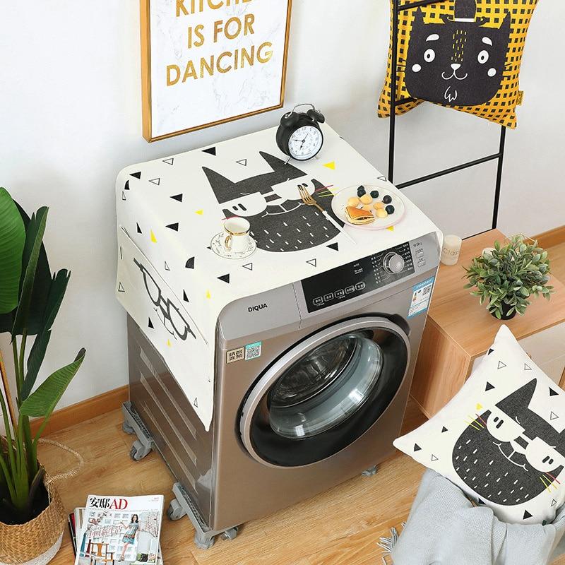 Drum Washing Machine Cover Dust Cover Geometric Cotton Linen Refrigerator Organizer Fridge Dust Cover Home Decor lavador
