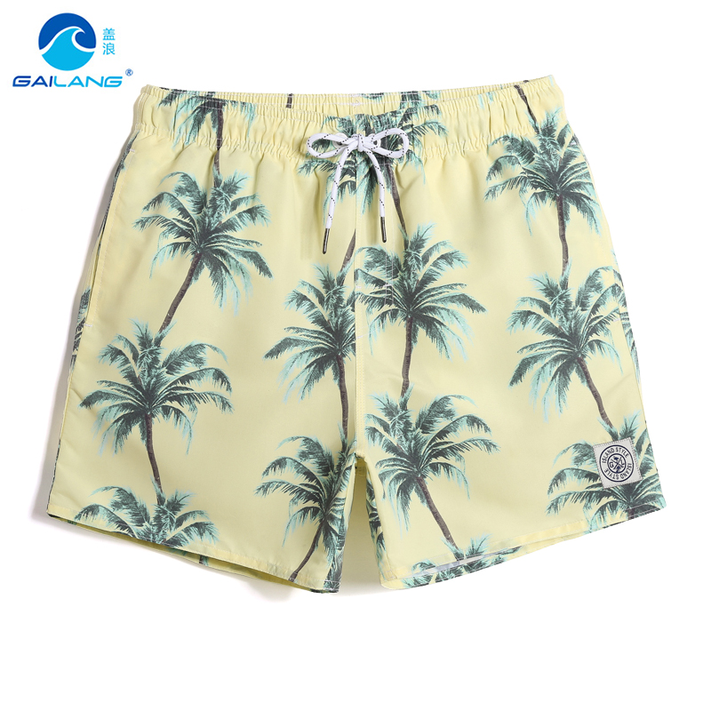 Gailang Men's New Sexy Swimming trunks Tropical Coconut tree quick dry surfing swimsuit Board shorts briefs liner Cartoon mesh