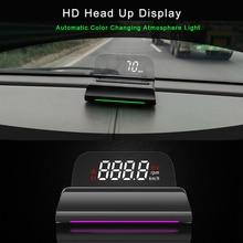 Obd HUD Head Up Display 4K + HD Display Tachometer Wasser Temperatur RPM Mit Umgebungs Licht Überdrehzahl Warnung Spannung OBDII KM/H