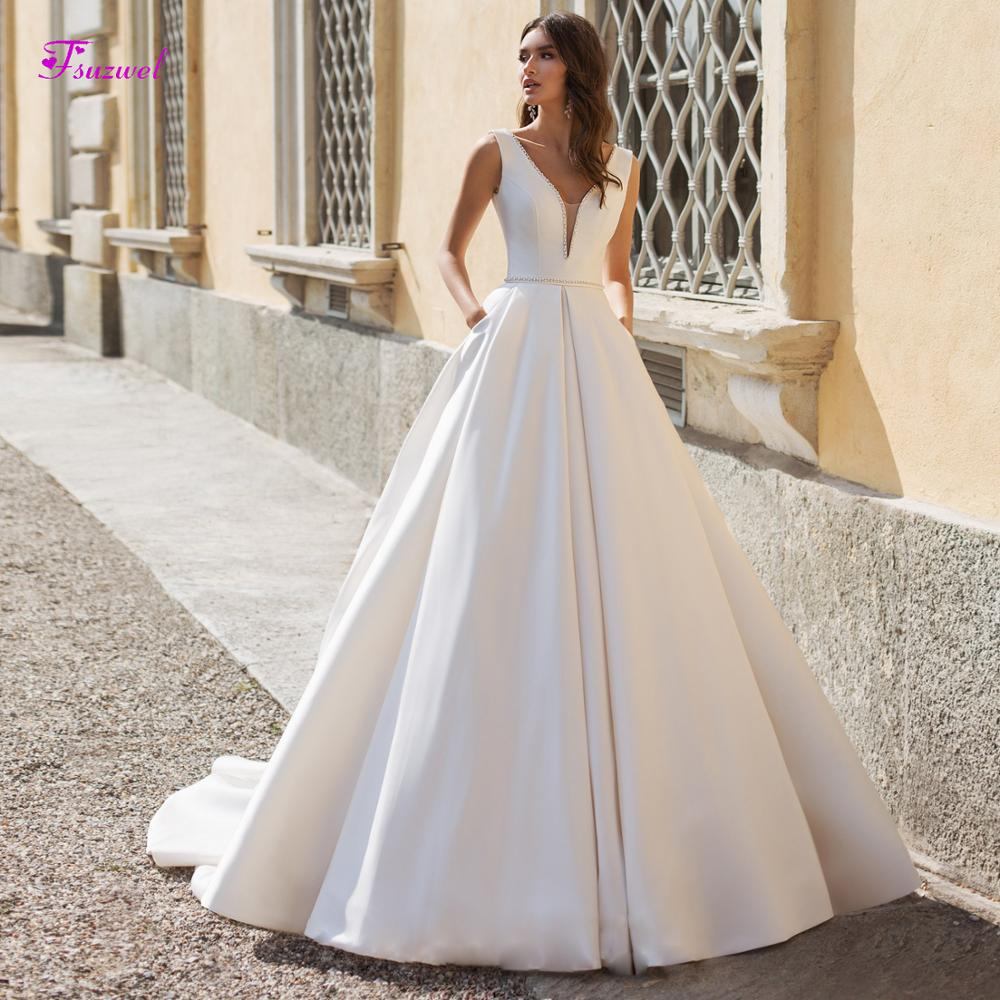 Fsuzwel Charming V-Neck Backless Satin A-Line Wedding Dresses 2019 Luxury Sashes Beaded Princess Bridal Gowns Vestido De Noiva