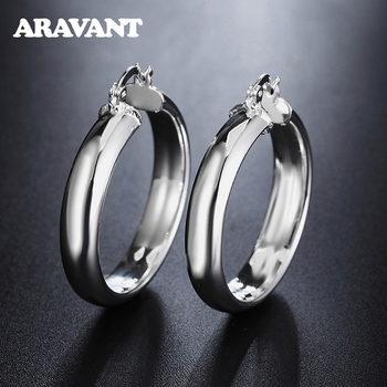 цены 925 Silver Circle Creole Earrings Diameter 35mm Round Circle Hoop Earring For Women Brinco Fashion Jewelry Accessories