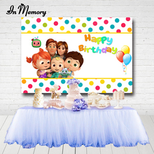 Inmemory背景サプライヤーcocomelonパーティー子供のための家族の誕生日パーティーの背景フォトスタジオバナーカスタム