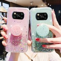 Silicon Case For Xiaomi Poco X3 Pro Cases Glitter Cover Poco X3 NFC 2020 M3 F3 F1 Redmi Note 10 9 8 pro 9s 10s 9a 9c 8T Fundas