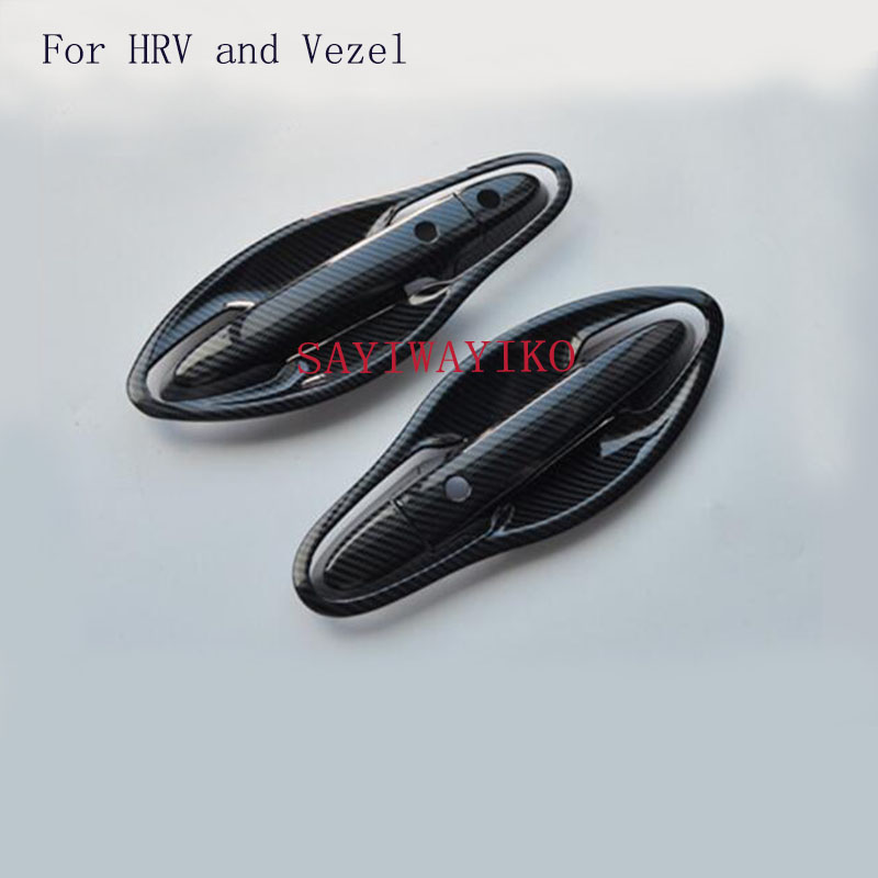 CAR STYLING Car <font><b>Door</b></font> <font><b>Handles</b></font> Cover Trim Carbon Fiber Exterior Car Styling <font><b>Door</b></font> <font><b>Handle</b></font> Bowl For <font><b>Honda</b></font> <font><b>HRV</b></font> HR-V Vezel 2014-2017 image