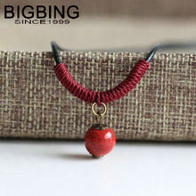 C122 BIGBING fashion jewelry red Ceramic beads Pendant black chain Necklace wholesale jewelry Free shipping(China)
