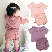 цены 0-24M 2Pcs Cotton Linen Baby Girl Clothes Kid Girl Outfit Clothes Linen T-shirt Top+Shorts Pants Toddler Infant Summer Clothing