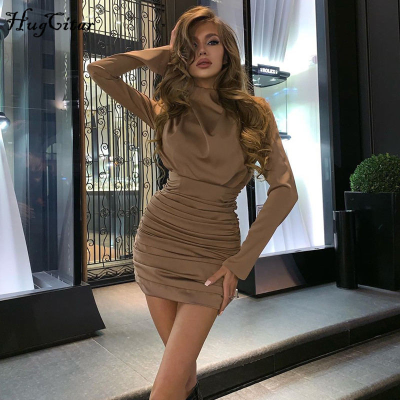 Hugcitar 2020 long sleeve ruched pure sexy mini dress autumn winter women streetwear party outfits clubwear 1