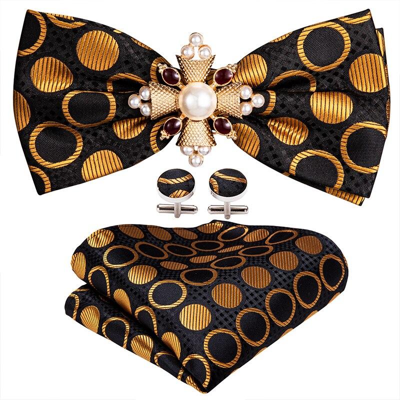 Silk Gold Plaka Dot Bow Gull для мужчин Свадебный аксессуар Регулируемая бабочка Hanky Tie Clip Clip Set Barry.wang Men Pired