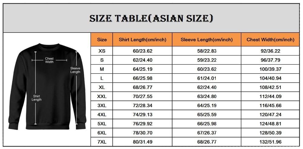 亚洲尺码表-卫衣