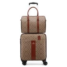 Stilvolle pu leder set koffer mit handtasche weibliche trolley gepäck mode hand box reise gepäck luxus frauen männer valise