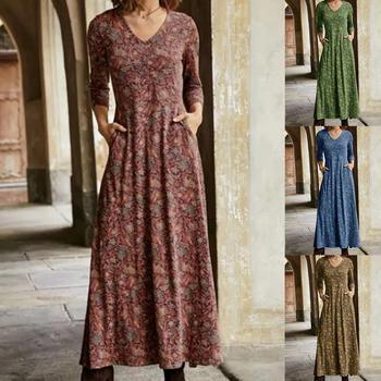 Women Long Dress Floral Print Sleeve A-line Autumn New Elegant Vintage V Neck Winter Dresses Boho