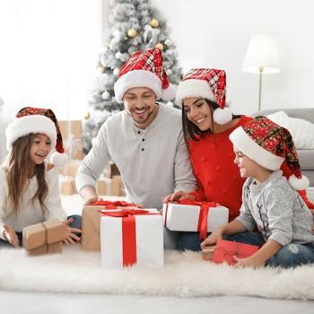 2021 nowy czerwony boże narodzenie kapelusz Plaid Snowflake miękki pluszowy czapki świętego mikołaja dla dorosłych dzieci nowy rok akcesoria świąteczne na imprezę dla dzieci prezent tanie i dobre opinie ISHOWTIENDA CN (pochodzenie) christmas navidad natal home decor christmas decoration christmas decorations for home christmas gift