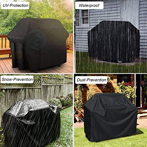Waterproof BBQ Cover Grill Cover Anti Dust Rain Gas Charcoal Electric Barbeque Garden Grill Protection Outdoor 4 Sizes Black New