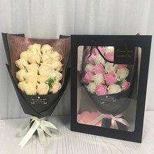 Flone 18 pçs criativo scented sabão artificial flores rosa buquê caixa de presente simulação rosa dia dos namorados presente de aniversário decoração