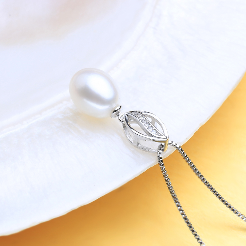 FENASY Genuine Natural Freshwater Pearl Necklace For Women Fashion 925 Sterling Silver Leaf Shape Pendant With White Pearl 2