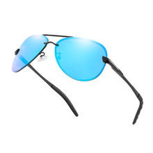 Brand Polarized Sunglasses Classic Design Metal Rimless Men