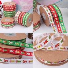 Grosgrain атласные ленты для поделок Мультяшные печатные Рождественские