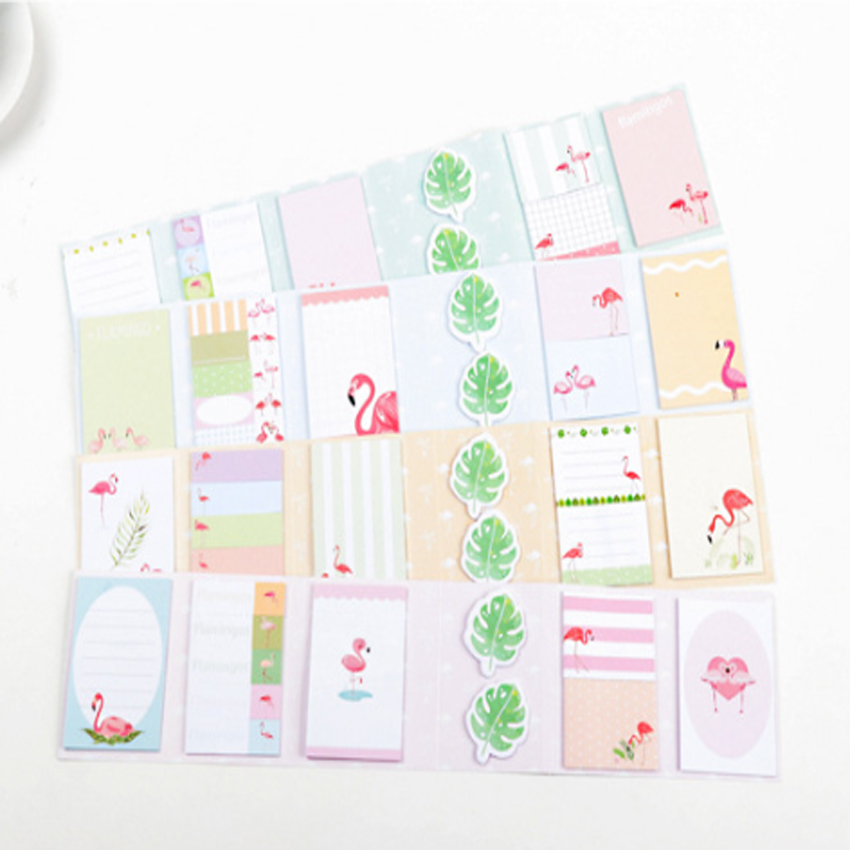 1pack /lot Kawaii Flamingo Theme Memo Pad 6 Folding Paper Sticky Notepad Diary Sticky Notes Office School Papelaria Gifts