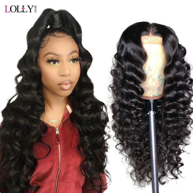 Lolly Hair Loose Deep Wave Lace Front Wig Remy 360 Lace Frontal Wig 250% Density 13X4/13X6 Brazilian Lace Front Human Hair Wigs