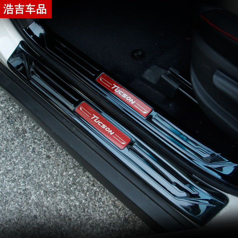 stainless steel Plate Door Sill Welcome Pedal Car Styling Accessories (inside + outside) For Hyundai Tucson 2015--2018 image
