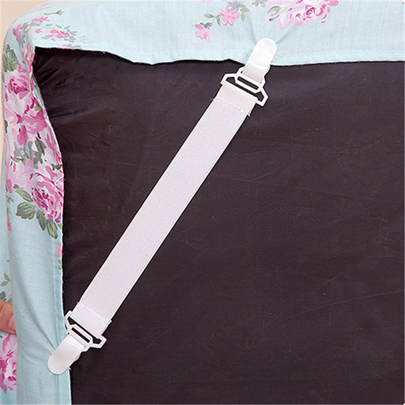 4Pcs/Set White Bed Sheet Mattress Cover Blankets Home Elastic Grippers Fasteners Clip Holder Slip-Resistant Belt Fixing Straps