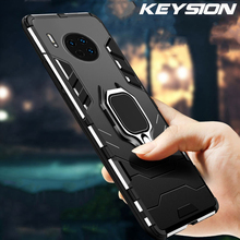 KEYSION Shockproof Armor Case for Huawei Mate 30 Pro Lite Stand Ring Phone Back Cover 20